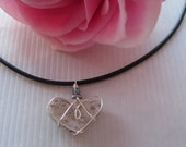 Heart Necklace, Sweet Beach Stone Wire Wrapped Natural Heart