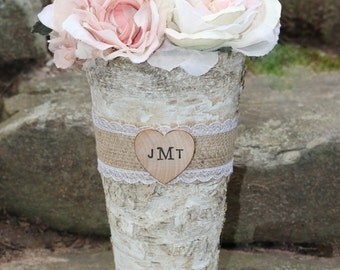 Personalized Birch Vase Flower Pot Pail Burlap and Lace Rustic