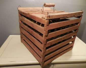 Vintage Antique Humpty Dumpty Wooden Egg Crate just reduced