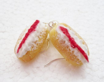 Cream And Jam Donut Earrings. Polymer Clay.
