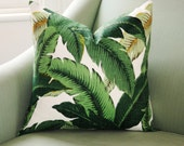Green Swaying Palm Beach Pillow Cover