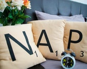 NAP --- Set of 3 SCRABBLE LETTER decorative pillow cases cushion covers -- choose any 3 letters