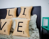 LIVE -- Set of 4 SCRABBLE LETTER decorative pillow cases cushion covers -- choose any 4 letters