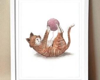 "Art Print - ""Playtime"" - Nursery Art - Kitty with Yarn - 8x10"