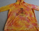 Raven on an old fashion bike, woman's large hoodie, designs on sleeve, yellow, pink, orange, silk screened, colors are brighter in person