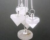 Crystal Quartz Point Pendulum Pendant-- Crystal Quartz Point Pendant with Silver Plated bail (S50B6-01)