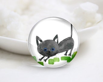 10mm 12mm 14mm 16mm 18mm 20mm 25mm 30mm Handmade Round Photo Glass Cabochons Cover-Cat (P1235)