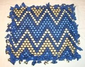 SALE Fleece Tie Pet Blanket for Cats or Small Dogs - Blue Chevron Dot