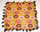 Fleece Tie Pet Blanket for Cats or Small Dogs - Orange and Black Flowers Floral