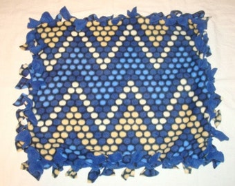 Fleece Tie Pet Blanket for Cats or Small Dogs - Blue Chevron Dot