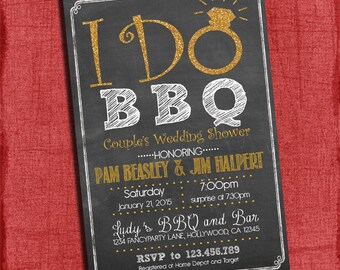 Printable I DO BBQ Wedding Shower Gold Glitter Chalkboard Design with Gold Ring - I Design, You Print