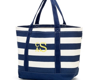 Monogrammed Canvas Striped Tote - Great Teacher Bag