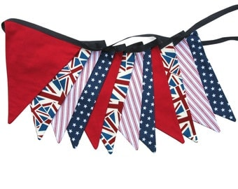 Union Jack, Stars & Stripes Flag Bunting.  HANDMADE . Party, Shop, Banner or Boys Bedroom Decoration. Colours of UK USA and Australia