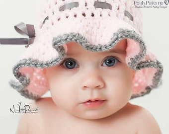 Crochet PATTERN - Crochet Sun Hat Pattern - Crochet Hat Pattern - Sun Hat Crochet Pattern - Baby, Toddler, Child, Adult Sizes - PDF 325