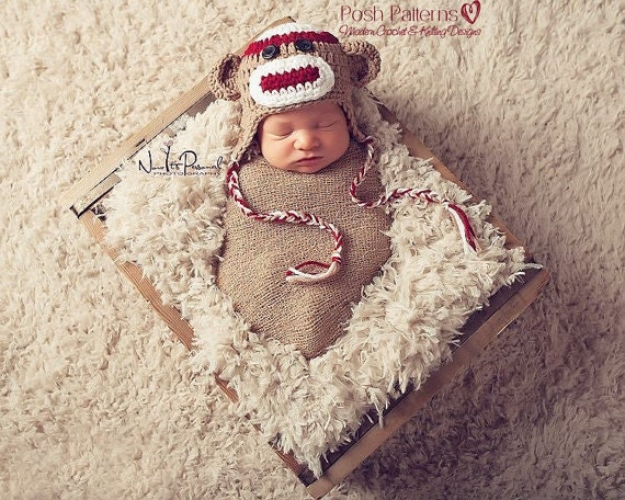 Free Crochet Pattern Sock Monkey Hat For Baby : Crochet Pattern Sock Monkey Hat Crochet Pattern by ...