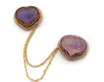 Natural Amethyst carved heart double brooch. Bead embroidery amethyst brooch. Mother's Day gift/Valentine gift.
