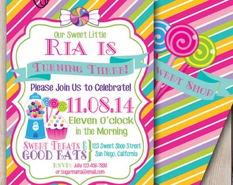 Sweet Shop Invitation Candyland Birthday Party Printable 5x7 Baby Shower Sweet Shop Party