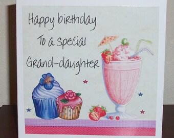 Happy Birthday Grand-daughter card, cupcakes and milkshake, personalised card