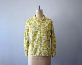 50% SALE . 60s floral print shirt . 1960s yellow blouse . vintage spring fashion