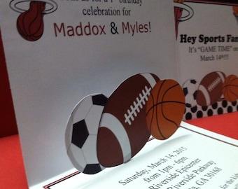 sports invitation, pop up invitation, football invitation, march madness, basketball invitation, soccer invitation, boy birthday invitation