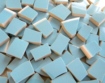 Sky Blue - Solid Color Stoneware Mosaic Tiles - Recycled Plates - 50 Tiles