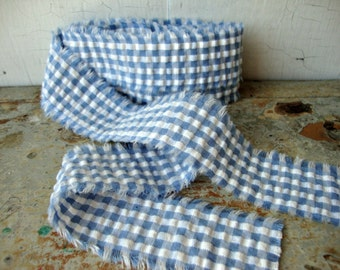 Vintage Blue and White Gingham Check Seersucker Ribbon