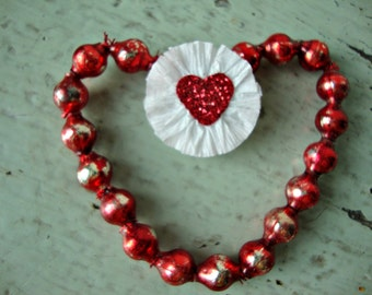 Vintage Red Mercury Glass Bead Heart