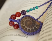 Ammonite Macrame Necklace with Turquoise and Carnelian - Stone for Health and Success