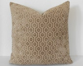 Camel tan geometric velvet decorative pillow cover