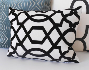 Black and white trellis velvet decorative pillow cover