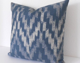 SALE Both sides, Blue and natural flame stitch ikat decorative pillow cover,  throw pillow