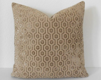 Camel tan geometric velvet decorative pillow cover