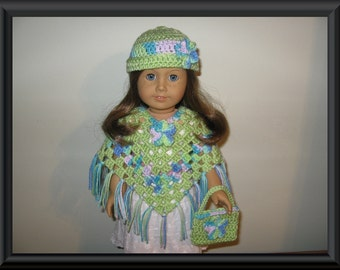 "Hand-Crocheted Lime Green with multi-color accents 3 piece Poncho set with Flower Motifs for 18"" 18 inch Dolls"