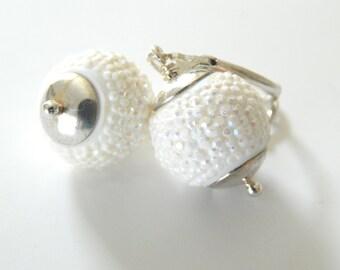 Snow White Earrings, Sparkle Dangle Earrings, Rhinesrone White Drop Wedding Earrings