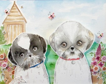 Pet Portrait Custom Art Watercolour