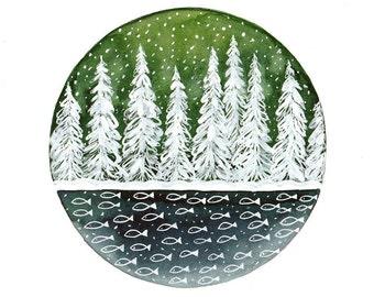 Original illustration Winter art Pine trees and lake under snow Original watercolor painting Small wall decor