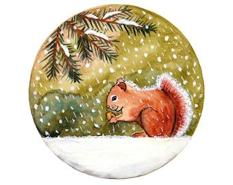 Original Watercolor painting Squirrel under snow Winter art illustration