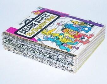 Vintage Book Bundle - 9 Sesame Street Little Golden books - 1970s-1980s