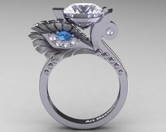 High Fashion Nature Inspired 14K White Gold 3.0 Ct White Sapphire Blue Topaz Diamond Marquise Eye Engagement Ring R359S-14KWGDBTWS