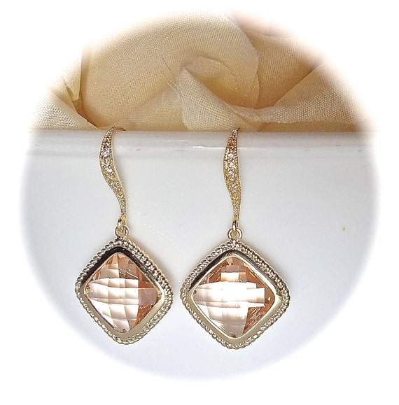 Champagne earrings - Peach - Cubic zirconia - Diamond shape -14k Gold over Sterling ear wires - Bridal jewelry - Bridesmaids -