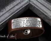 Medical Alert Leather Bracelet- ID Bracelet- Hand Stamped Leather Bracelet- Personalized Bracelet