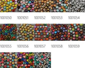 50PCS 12mm Mixed Round Flat Back Handmade Photo Glass Cabochon - Image Glass Cabochons