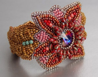 Free Shipping , Bead Embroidery,  Bracelet, Statement cuff,  Seed bead bracelet,  Red , Brown,    Swarovski