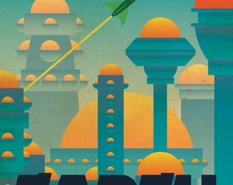 Earth Retro Planetary Travel Poster