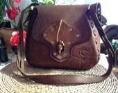 Tooled Leather Shoulder Bag