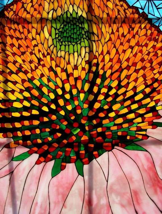 Coneflower Stained Glass Mosaic Original from photo