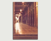 Evening dusk street canvas print wanderlust Italy travel photo large wall art home decor Venice Piazza San Marco office brown gold doorway