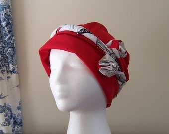 Women's Chemotherapy Turban in Red with Floral Rosette Headband, Gift for Cancer Patient, donation to American Cancer Society