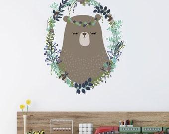 Woodland Bear Wreath Removable Wall Sticker   LSB0122CLR-LCN