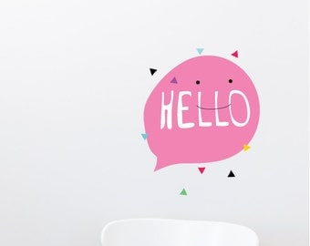 Hello Pink Removable Wall Sticker | LSB0180WHT-MMS